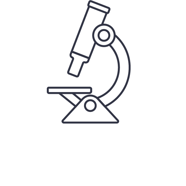 Illustration of a microscope, viewed side-on •B2B Brand Services •Earnest